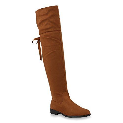 Damen Schuhe Stiefel Leicht Gefütterte Overknees Satinoptik Schleifen 147534 Hellbraun 37 Flandell