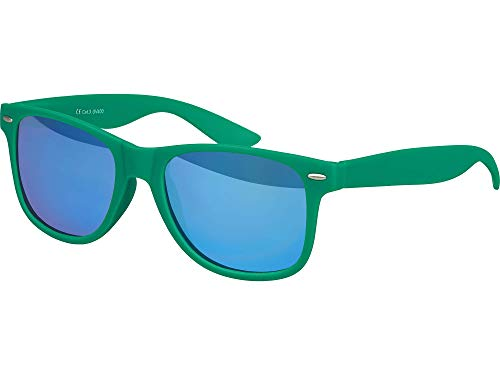 Balinco Hochwertige Nerd Sonnenbrille Rubber im Wayfarer Stil Retro Vintage Unisex Brille mit Federscharnier - 96 verschiedene Farben/Modelle wählbar (Dunkelgrün - Blau verspiegelt)