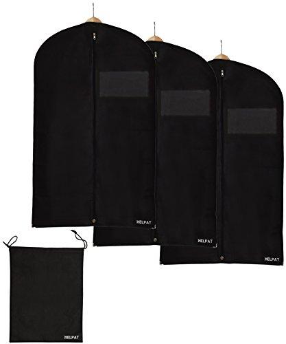 3x Premium Kleidersack - inkl. kostenlosem Schuhbeutel - 100 x 60 cm - hochwertiger Anzugsack / Kleiderhülle / Anzughülle aus atmungsaktivem Material - erstklassiger Schutz für Ihre Anzüge und Kleider