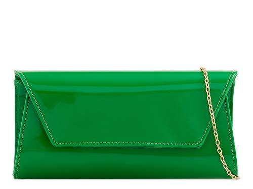 LeahWard Patentierte Klappe der Frauen Clutch Geldbörsen Party Abendtaschen Handtasche (Grün) - Grün Patent Leder Handtasche