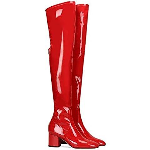 SONGYUNYAN Jeans donna brevetto cuoio cerniera rossa pompa lo stivale , red , 42