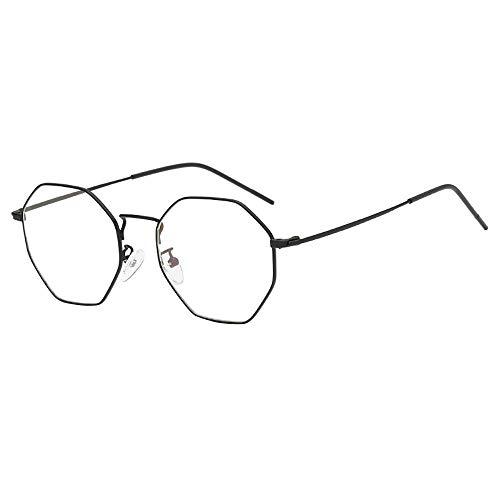 KUDICO Unisex Brillen Retro Glasrahmen Ebenenspiegel Dekobrille Metall Frame Klassisches Rhombus Rahmen Glasses Klare Linse Brille(A, One Size)