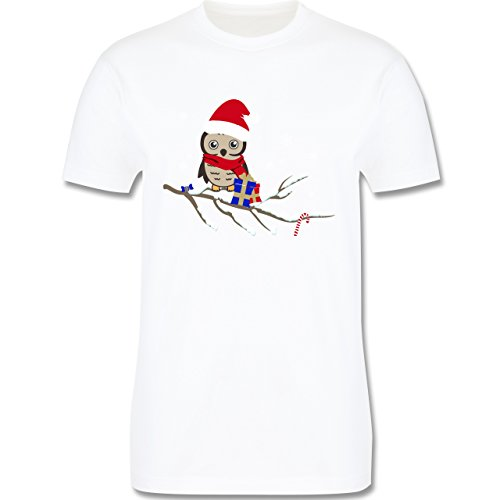 Weihnachten & Silvester - Weihnachtseule Eule - XXL - Weiß - L190 - Herren T-Shirt Rundhals (Weihnachten, Weißes T-shirt Baum,)