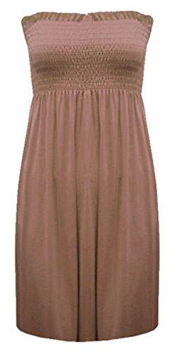 Neu Damen Gerüscht Trikot Einfarbig Hauchdünn Aufgeweitet Swing Bandeau-bustier Top - Mokka - Freizeit Party Jersey Basic Einfarbig, M/L (40/42) -