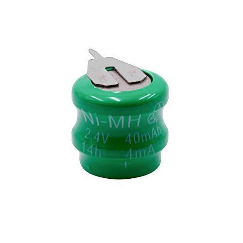 vhbw NiMH Ersatz Knopfzellen-Akku (2X Zelle) Typ V40H 2-Pins 40mAh 2.4V passend für Modellbau-Akkus, Solar-Leuchten UVM.