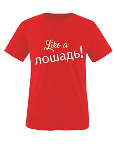Comedy Shirts - Like a Pferd! Russisch - Jungen T-Shirt - Rot/Beige-Weiss Gr. 152/164