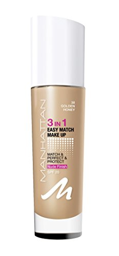 Manhattan 3in1 Easy Match Make Up, Farbe. 38 golden honey, 1er Pack (1 x 30 ml)