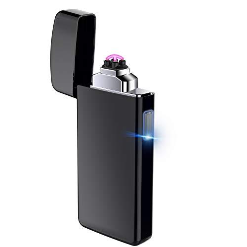 AngLink Briquet Electrique, Briquet Double Arc électronique Rechargeable avec USB Câble, Coupe-Vent sans Flamme Longue Durée pour Cigarette Bougie Cuisine Barbecue Gazinière Chem