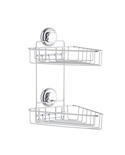 Compactor Bestlock succión Doble Esquina Estante, Cromado, Chrome 24H | Suction Cup : TPU and Abs, Acero