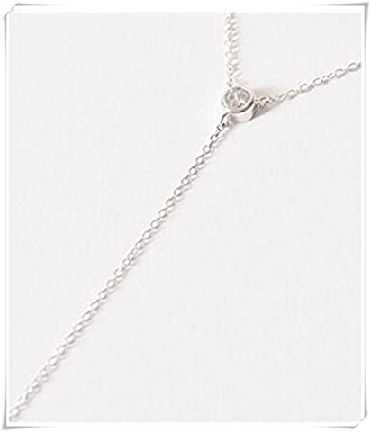 Sterling Silver Lariat Necklace, Crystal Drop Necklace, CZ Necklace, Delicate Necklace, Dainty Necklace, Long