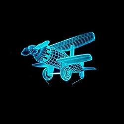Illusion 3D Avion LED Lampe Art Déco Lampe Lumières LED Décoration Lampes Touch Control 7 Couleurs Change Veilleuse USB Powered Enfants Cadeau Anniversaire Noël Cadeaux