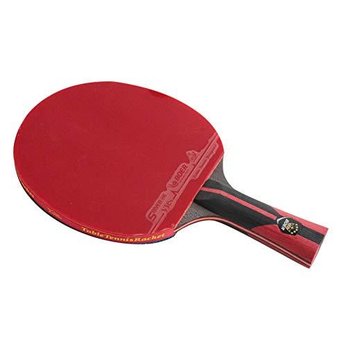 YUnnuopromi Professional Leichtbau Tisch Tennis Holzschläger Paddelsport Ping Pong Fledermaus Black + Red Short Handle