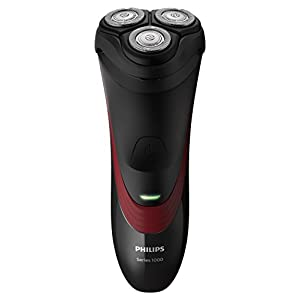 Philips 1000Series S1320/04Machine Shaving Rotation Black, Red-(Shaver Machine Shaving Rotation, CloseCut Blade System, 4- Direction Flex Heads, SH30, 2Year (S), Black, Red, AC/Battery)