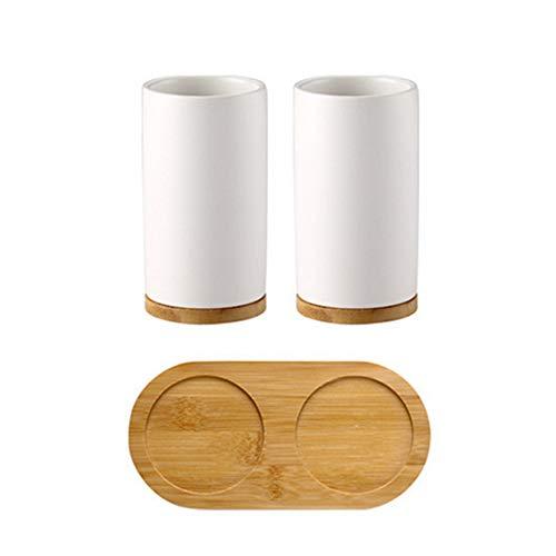 BulzEU - - Keramik Seifenspender Zahnbürstenhalter Becher mit Bambus Ständer Bad Zubehör Set - Seifenspender mit Pumpe, Zahnbürste, Becherbecher 2 Cups -