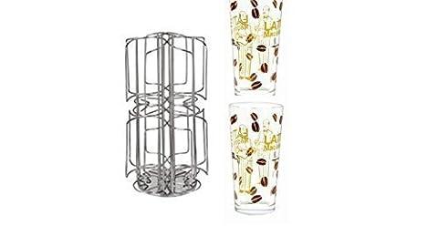 Kaffee-Kapselständer neu mit Milchschacht Weihnachtsaktion mit 2 Latte Gläsern