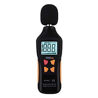 Sound Level Meter, Tacklife MLM02 Sound Level Meter, Measuring Range 30-130 dBA, max/min / Hold Data, Fast/Slow Mode, LCD Backlight Indicator/Flashlight (9 V Battery Included)