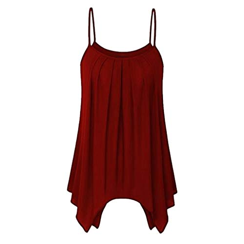 OVERDOSE Sommer Einfarbig Frauen Bluse Shirt Camis Pullis Oberteile Lose Leibchen Damen Einfarbig Chiffon Tank Tops Plus Größe S-6XL (L, M-Wine) -
