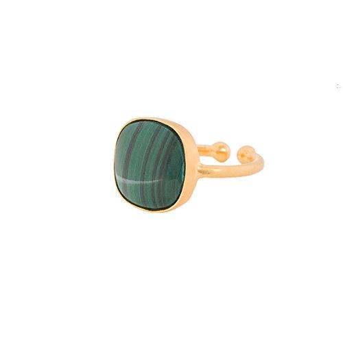 Pernille Corydon Schmuck Sale - 50{23aea6d29959881f2b2a9c2213de30f501613184fe8c1e612b9479db78d2b1cb} reduziert Damen Ring Grauer Malachit Großer Stein Grau Echtschmuck Variable Größen - 925er Silber vergoldet Variable Größe 51-53 - R035g