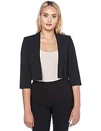 57e547892fa Roman Originals Women Tailored 3 4 Sleeve Jacket - Ladies Round Neck Office  Work Interview