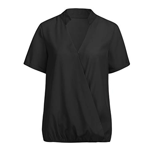 n Kurzarm Pullover blusen v Ausschnitt Einfarbig Elegante Tunika Casual Top Locker Oberteile Top Lose Sweatshirt Frauen Oberteile Elegant ()