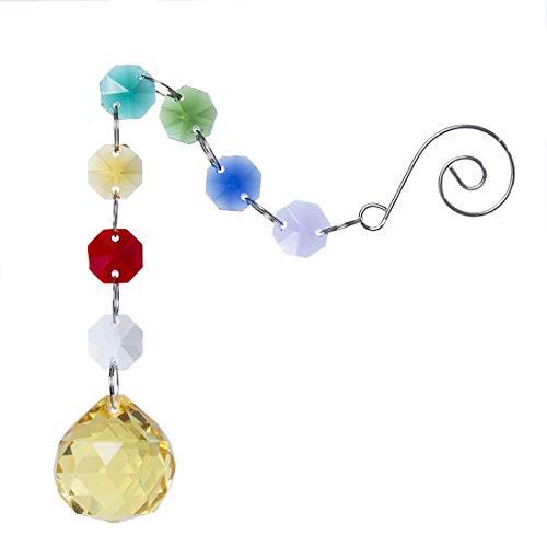 H&D Chakra Anhänger Kristall Regenbogen Sonnenfänger hängend Gelb Kugelprisma - Chakra-anhänger Gelbe