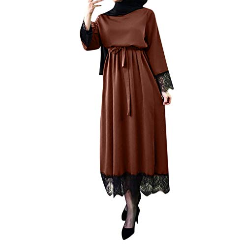 WUDUBE Mode Frauen Muslimische Robe, Dubai Ramadan Kaftan Marokkanischen Moslemisches Kostüm Abaya Islamische Kleidung Chiffon Langarm