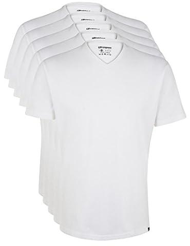 Ultrasport Herren Sport Freizeit T-Shirt mit V-Ausschnitt 5er Set, Weiß, M, 1318-100