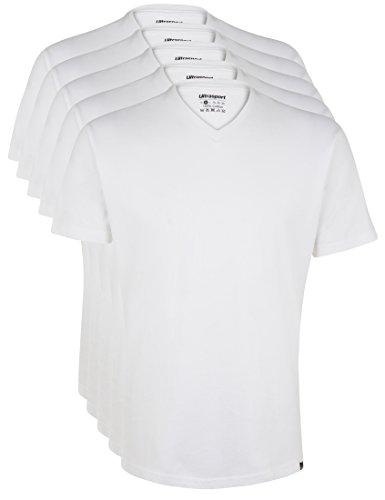 Ultrasport Herren Sport Freizeit T-Shirt mit V-Ausschnitt 5er Set, Weiß, L, 1318-100 (Under Kurzarm-unterhemd Armour)