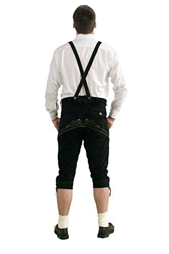 Herren Trachten Kniebundhose schwarz aus feinstem Rindsveloursleder Gr. 52 -