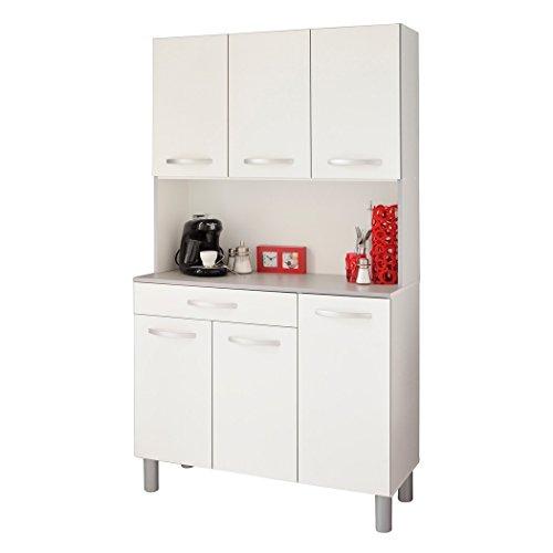 expendio Küchenschrank Spice 1 weiß grau 101x185x40 cm Schrank Buffetschrank Buffet Küche Küchenbuffet Anrichte -