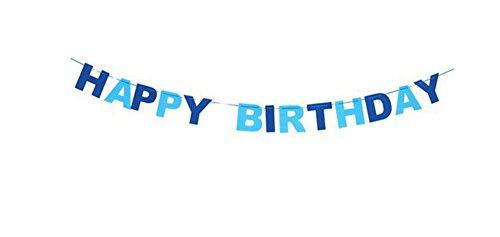 Cupcinu Wimpelkette Happy Birthday blau Vliesstoff Wimpelflagge Banner Girlanden für Foto Requisiten Feier Geburtstag Party Festivals Dekoration Baby Geburtstag