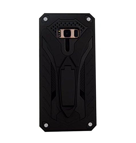 EKINHUI Case Cover Neuer stilvoller hybrider Rüstungs-schützender Abdeckungs-Fall Shockproof Doppelschicht PC + TPU rückseitige Abdeckung mit Kickstand für [Schock-Absorbtion] für Samsung-Galaxie S8 ( Black