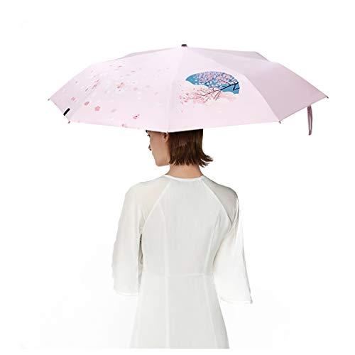 Sonnenschirm Sakura Kleiner schwarzer Kunststoff-Sonnenschutzschirm Regenschirm Farbwechsel Kirsche Regenschirm Mädchen Design Effiziente Sonnenschutzbarriere 99% UV