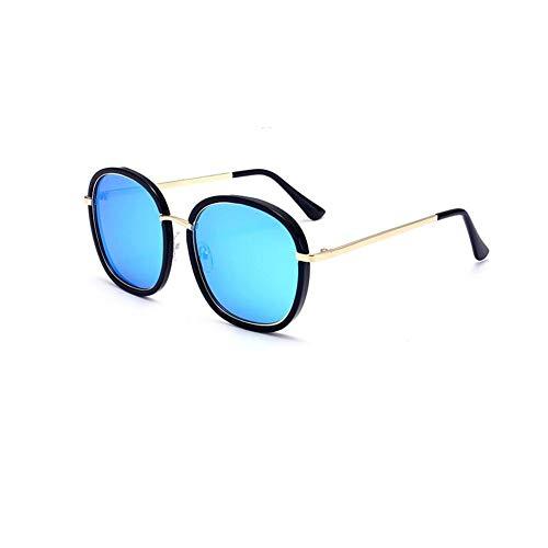 JFFFFWI Polarisierte Sonnenbrille uv400 Schutz Metall Retro Steampunk Stil Kreis flip up runde linse männer \u0026 Frauen (Farbe: blau)
