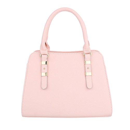 iTal-dEsiGn Damentasche Mittelgroße Schultertasche Handtasche Kunstleder TA-C2334 Rosa
