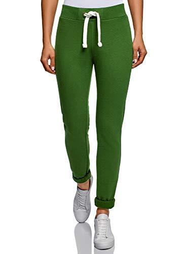 Kostüm Ländern Verschiedene - oodji Ultra Damen Jersey-Hose im Sport-Stil mit Dekorativen Bindebändern, Grün, DE 42 / EU 44 / XL