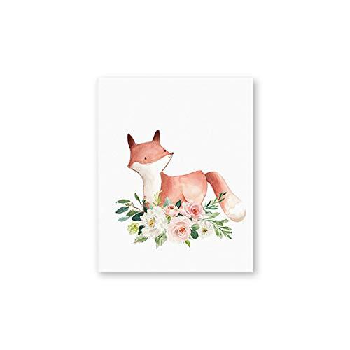 Tiamo Violet Waldtiere Kinderzimmer-Wand-Kunst-Leinwand-Druck Aquarell Erröten Rosa Blumen-Malerei-Bilder, A4 21x30 cm Kein Rahmen, Ph1464 -