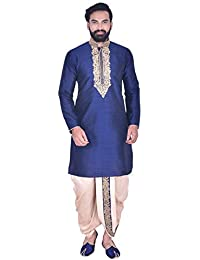 Manyavar Men's Full Sleeve Regular Fit Designer Kurta & Dhoti Pant Set