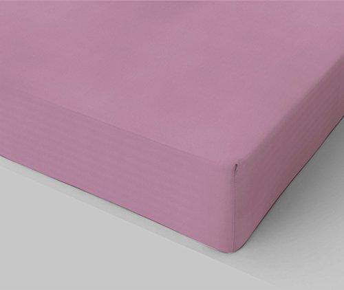 Banzaii lenzuolo sotto con angoli in cotone con elastico made in italy una piazza singolo 90x200 cm rosa