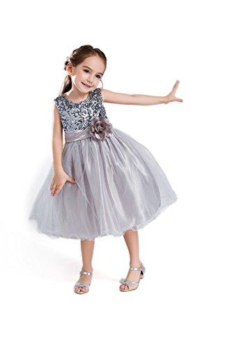 ELSA & ANNA® Top Qualität Mädchen Prinzessin Kleid Hochzeits Partei Kleid Verrücktes Kleider Brautjungfer Kleid Weihnachtsfest Kleid Partei Kostüm Outfit DE-GRY-PDS02 (4-5 Jahre, PDGRY02)