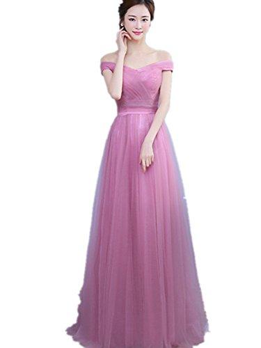 BOMOVO Damen Elegant Abendkleid V-Ausschnitt Brautjungfer Cocktailkleid Faltenrock Violett