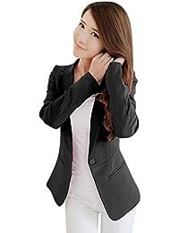Kaiyei Mujer Otoño Primavera Blazers y Chaquetas Trabajo Oficina Dama Traje Slim Office Blazer Mujer Escudo