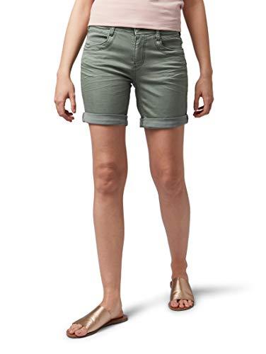TOM TAILOR Damen Alexa Bermuda, Grün (Pale Bark Green 13182), 28 - Grüne Jeans-shorts
