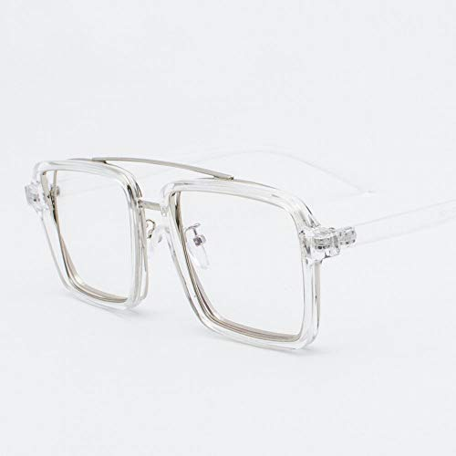 Cvthfyky Fashion Square Flat Lens Glasses Large Glasses Frame für Frauen (Farbe : Clear)