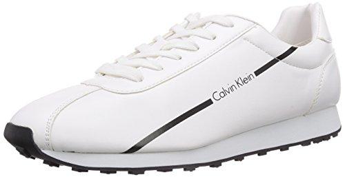 Calvin Klein JeansYAEGER SMOOTH/RUBBER SPREAD - Scarpe da Ginnastica Basse Uomo , Multicolore (Mehrfarbig (WHITE/BLACK)), 45 EU