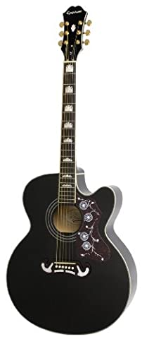 Epiphone EJ-200SCE Solid Top Cutaway Acoustic/Electric Guitar, Black Finish, Maple