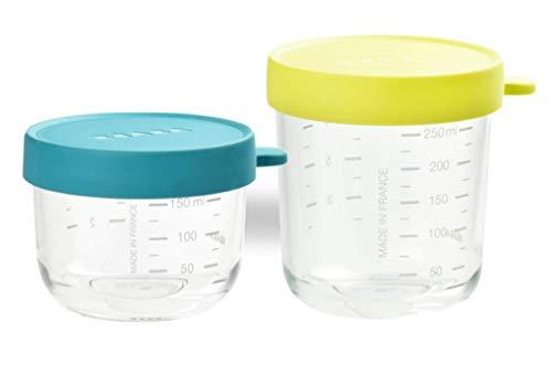 BÉABA Lot de 2 Pots de Conservation En Verre 150 ml Bleu /250 ml Néon