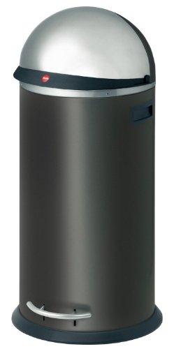 Hailo KickVisier XL, Mülleimer aus Stahlblech, 36 Liter, Klapp-Visier mit XXL-Öffnung, breite Fußreling, verzinkter Inneneimer, Tragegriffe, 0835-569