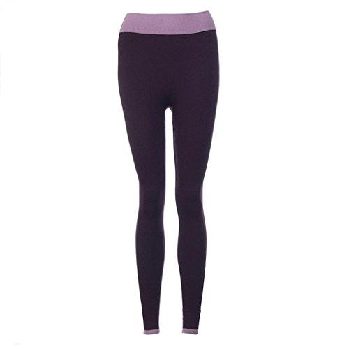Vovotrade® Femmes Fitness Yoga Leggings Haute Taille Patchwork Skinny Push Up Pantalon Recadré Fonctionnement Vêtements Violet