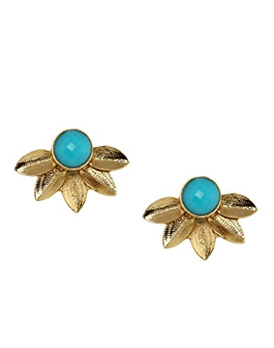 Bindhani Traditional Gold Plated Studs Chandbali Turquoise Earrings For Girls(Chand Bali)  available at amazon for Rs.199